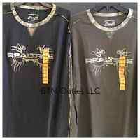 Buckhorn River Mens Realtree Long Sleeve Crew Neck Shirt Camo Black Brown Xxl