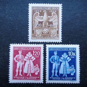 Germany-Nazi-1944-Stamps-MNH-Native-Costumes-Emblem-Swastika-Eagle-Arms-of-B-amp-M-W
