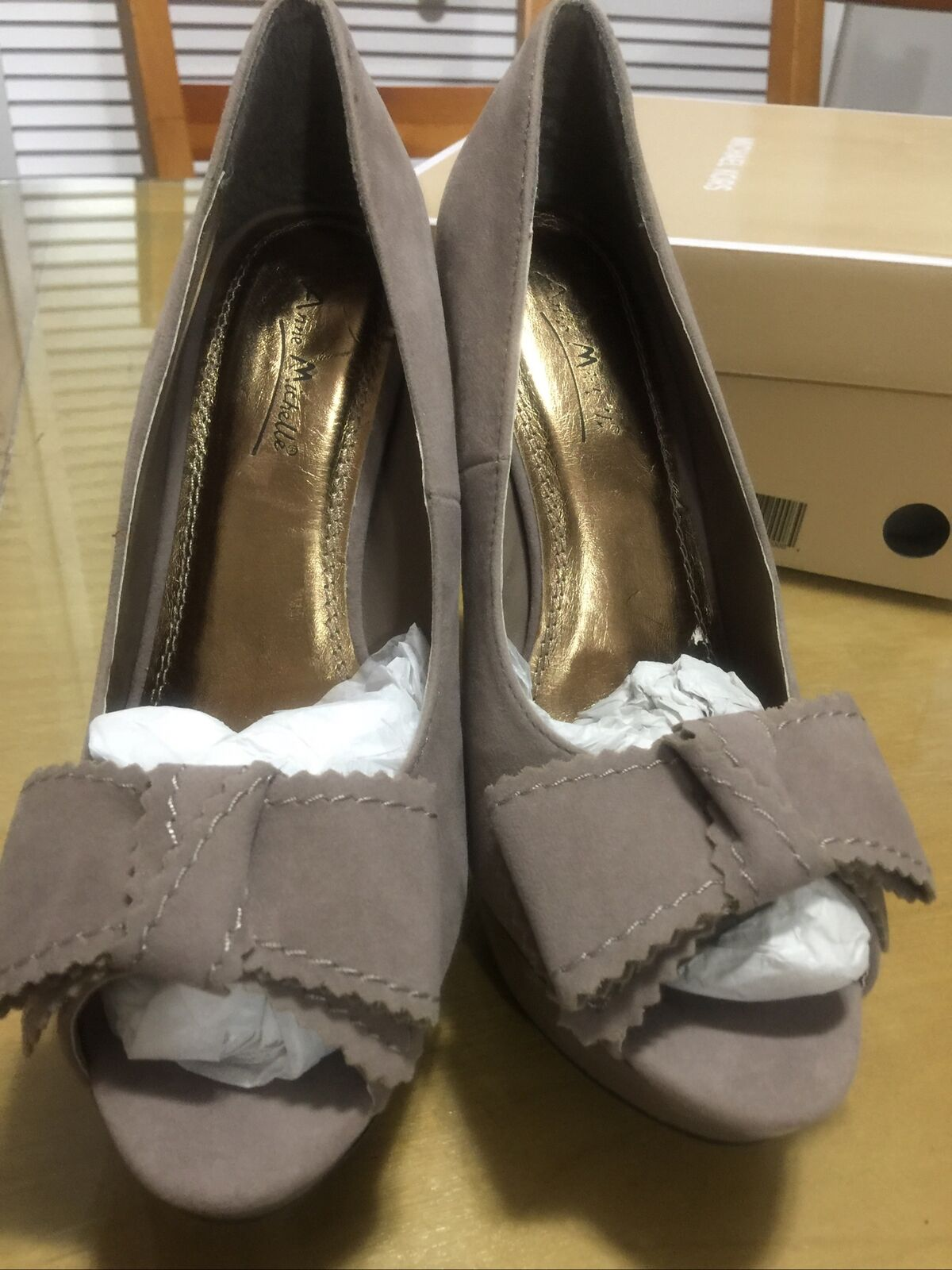 anne michelle shoes Dress Heel With Bow Tie Open Toe Upper Shoes Is Fabric/ Sued