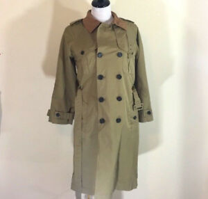 NEW-J-CREW-DOUBLE-BREASTED-GARDENER-TRENCH-COAT-SZ-6-JACKET-TAN-BROWN-OLIVE