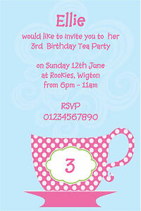 Details About 10 PERSONALISED KIDS PARTY INVITATIONS GIRLS TEA LIMITED EDITION