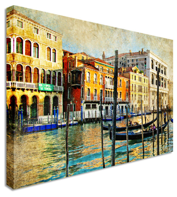 Large City Venice Gondolas & Canals Canvas Pictures Wall Art Prints