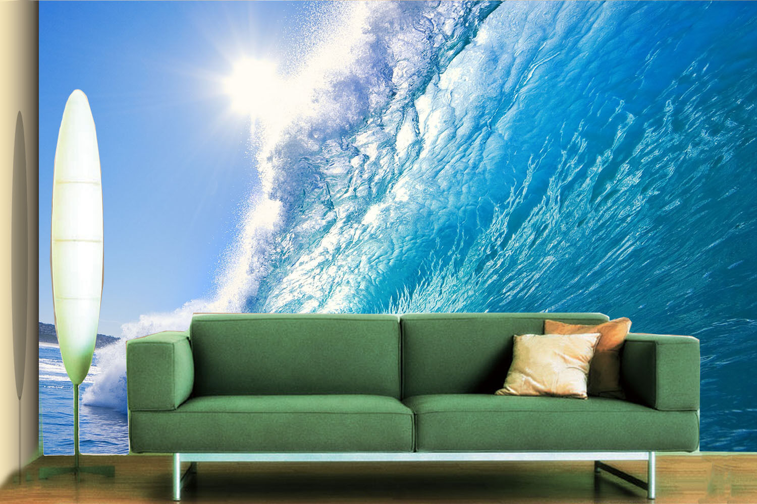3D Sun Blau Waves Paper Wall Print Wall Decal Wall Deco Indoor Murals