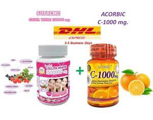 Supreme Gluta White Glutathione Acorbic Vitamin C 1000mg Whitening Skin Ebay