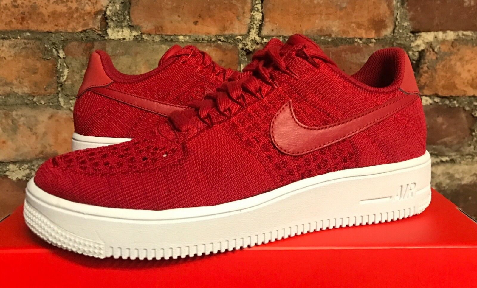 NIKE AIR FORCE 1 ULTRA FLYKNIT LOW PRM GYM RED WHITE UK10 US11 EU45 826577 600
