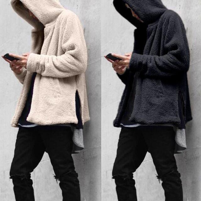 New Mens Long Sleeve Hooded Hoodie Sweatshirt Winter Warm Fleece Fur Jacket Coat