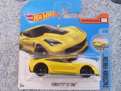 Hot Wheels 2017 #128/365 Corvette C7 Z06 gelb Fabrik frisches NEU Casting Spielzeugautos