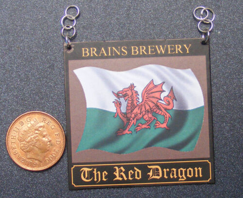 1:12 Scale The Red Dragon Pub Sign Tumdee Dolls House Miniature Bar Accessory