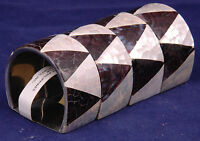 Napkin Holders-mother Of Pearl, Shell-black/white-made In Philippines-mosaic Tri