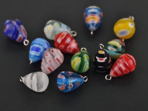 10pcs 20X12mm Millefiori Teardrop Loose Glass Beads Pendant Jewelry Mixed Colors