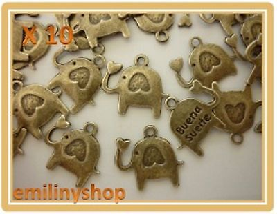 lot de 10 breloques charms pendentifs perles scrapbooking éléphant NEUF