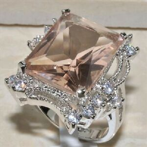 AMAZING-HUGE-Morganite-White-Topaz-Ring-925-silver-Size-9