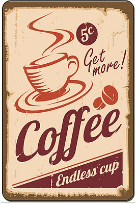 Coffee Endless Cup Vintage Retro Metal Sign kitchen home decor 8x12 SN-D078