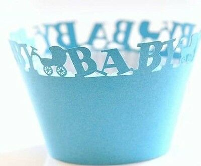 40x Blue stroller laser cut cupcake wrapper baby shower party favour decoration
