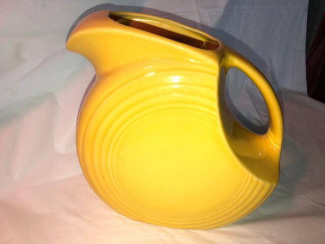 """Sunflower Yellow Fiesta Large Disc Pitcher 67 oz MINT  7.5"""" MINT"""