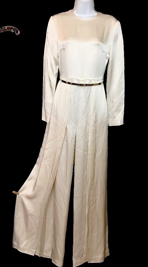 Stella McCartney Evening jumpsuit Exposed Thigh gold Belt Long Sleeve Size 2