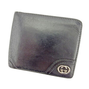 a9ad45b3f8d Gucci Wallet Purse Bifold G logos Black Silver Mens Authentic Used ...