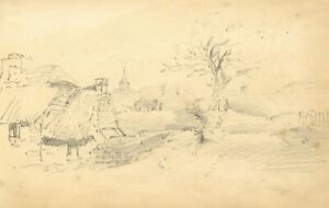 William Burgess of Dover, Rural Study, Church & Mill –Early 19th-century drawing