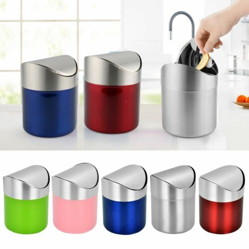 Round Shape Eco-friendly Counter-top Waste Cans With Swing Lid Kitchen Accessory