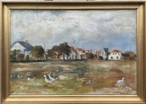 Impressionist-AH-village-view-with-Spring-cattle-at-1920-Oil-Painting-52-x-73-cm