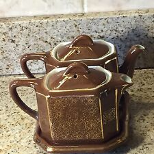 HALL'S CHINA #102 Twin-Tee Teapot Set With Matching Tray Deco Brown & Gold RARE