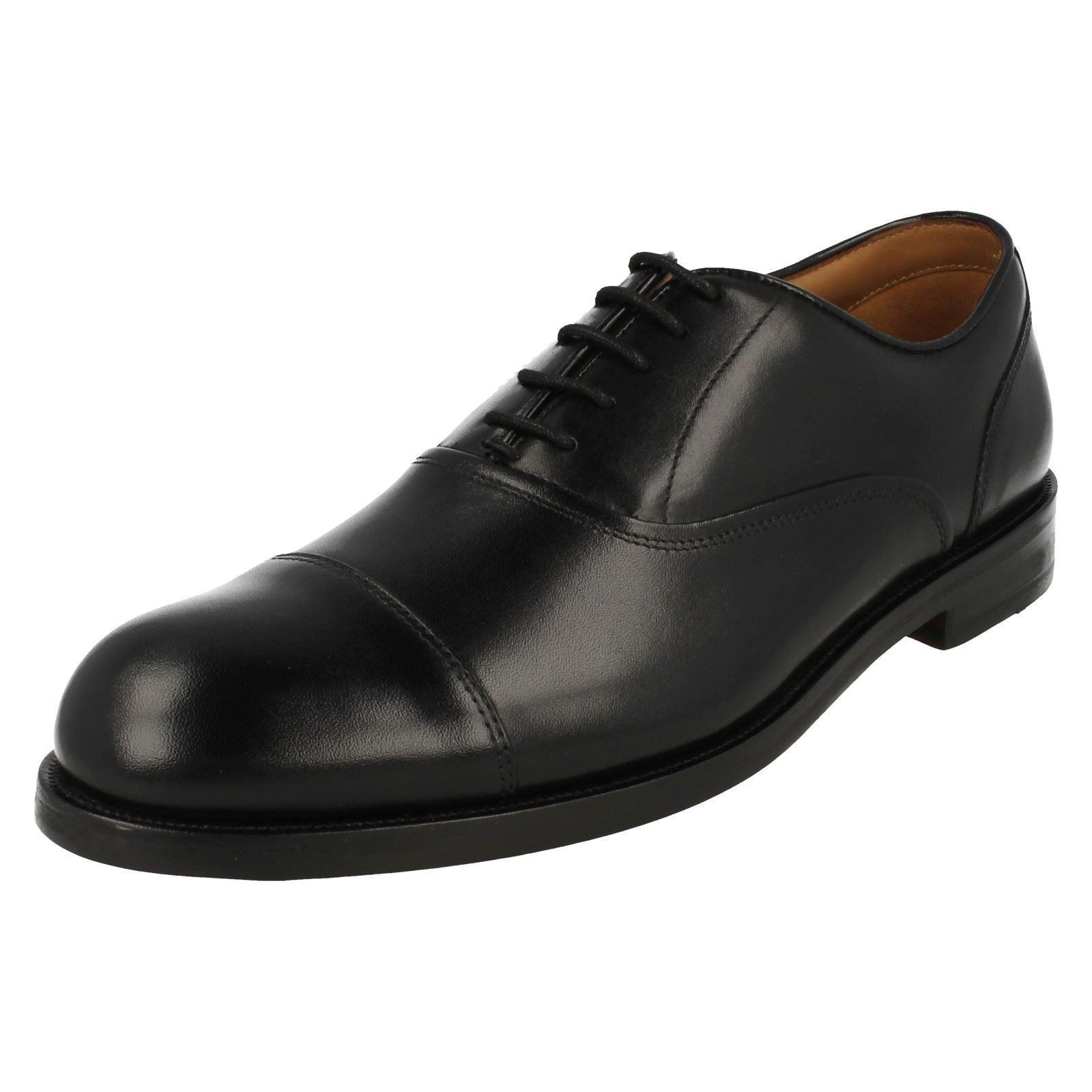 Zapatos casuales salvajes Hombre Clarks Coling Boss Inteligentes Zapatos De Piel Negros Con Cordones