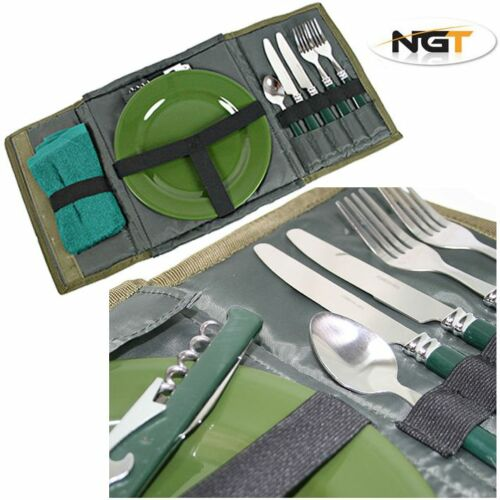 NGT Bankside Sandwich Toaster Toastie Maker With Carp Fishing Day Cutlery Set