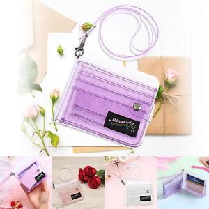 Transparent-ID-Card-Holder-Women-Folding-Short-Money-Clip-Wallet-Bag-Purse-LOT