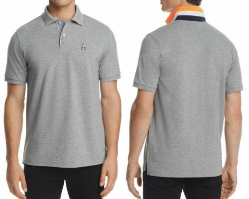 Psycho Bunny Men/'s Heather Grey Neon Anniversary Classic Fit Cotton Polo Shirt