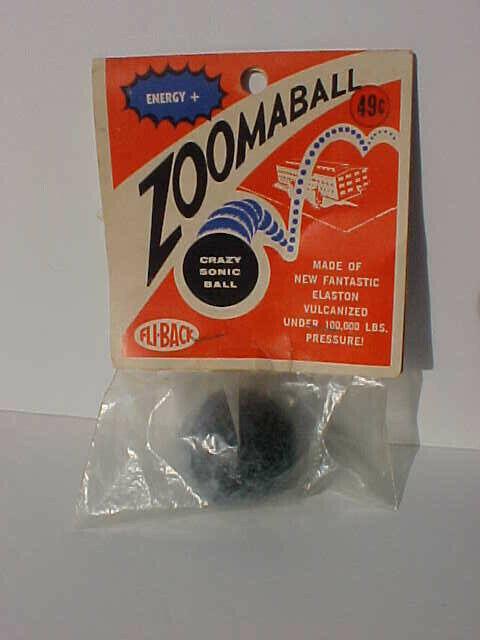 60's Fli-back Zoomaball Crazy Sonic Ball gjort av Elaston Vulcanized Mint i packa