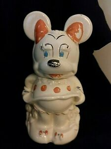 Rare-Vintage-1930-039-s-Mickey-and-Minnie-Cookie-Jar-with-like-Salt-and-Pepper-Shake