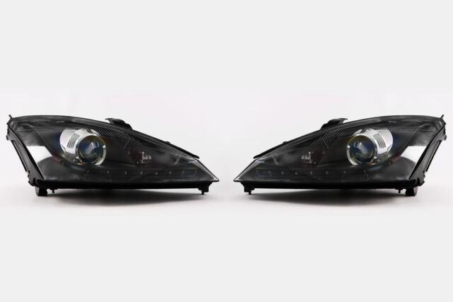 Ford Focus Mk1 01 04 Led Daytime Running Light Black Projector Headlights Set