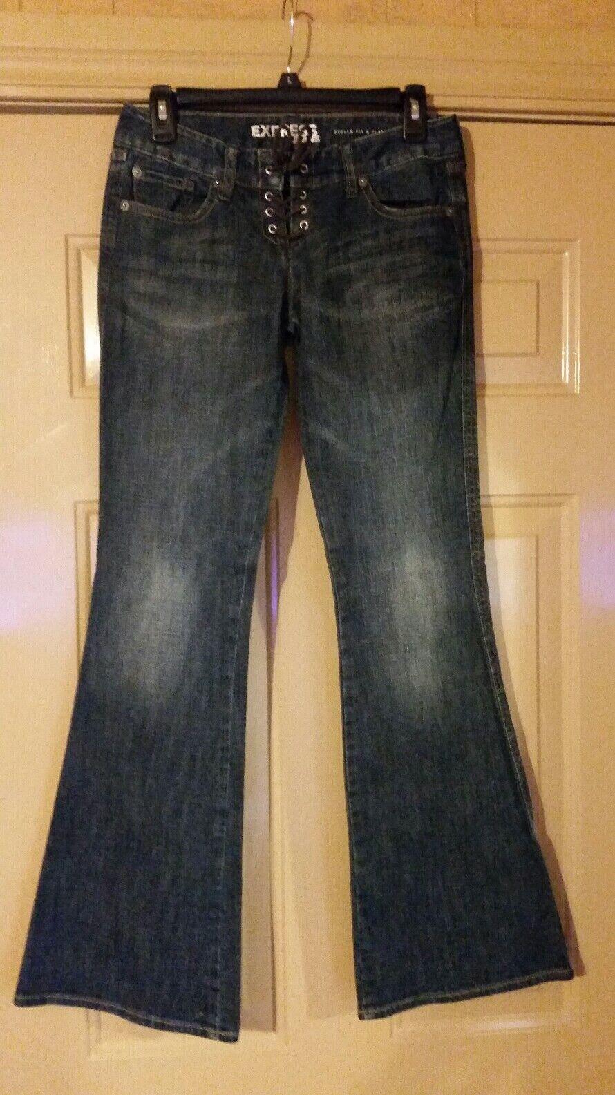 Express Stella Jeans Size 2 Lace Up Front Flare Leg Stretch Cotton Vintage
