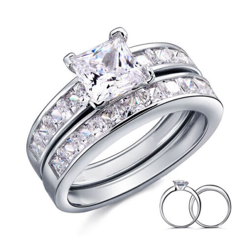 925 STERLING SILVER PRINCESS CUT CZ WEDDING ENGAGEMENT RINGS SET SIZE 6-9 SS752
