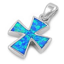 SOLID Blue Australian FIRE Opal Cross .925 Sterling Silver Pendant