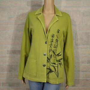 Spa-Chico-039-s-Misses-0-SMALL-4-Cotton-Blazer-Jacket-Asian-Print-Raw-Edge-Seams