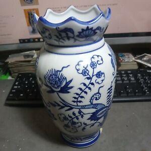 "CHINA BLUE FINE PORCELAIN Bud Vase Exclusive For SEYMOUR MANN 10"" x 6"" Vintage"