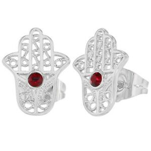 Silver-Tone-Red-Crystal-Hamsa-Hand-Amulet-Protection-Womens-Stud-Earrings