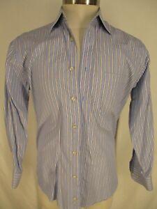 Peter Millar Mens Blue Stripe Long Sleeve Cotton Shirt M