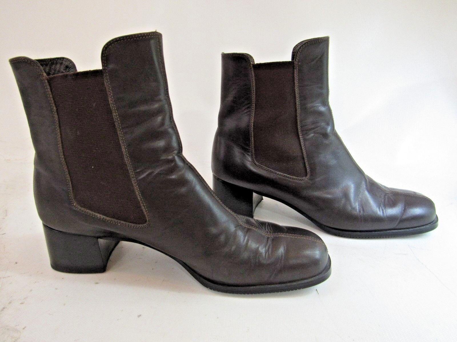 SALVATORE FERRAGAMO Brown Leather Stretch Ankle Boot Boot Boot Size 7 EUC bfbeda