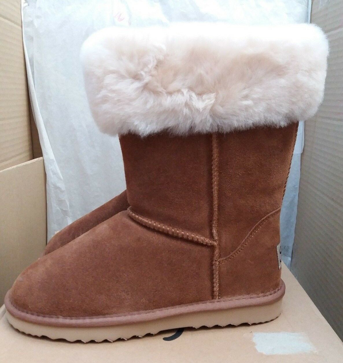 Snow Paw 5826CHEL06 Suede & Sheepskin Winter Boots - Chestnut