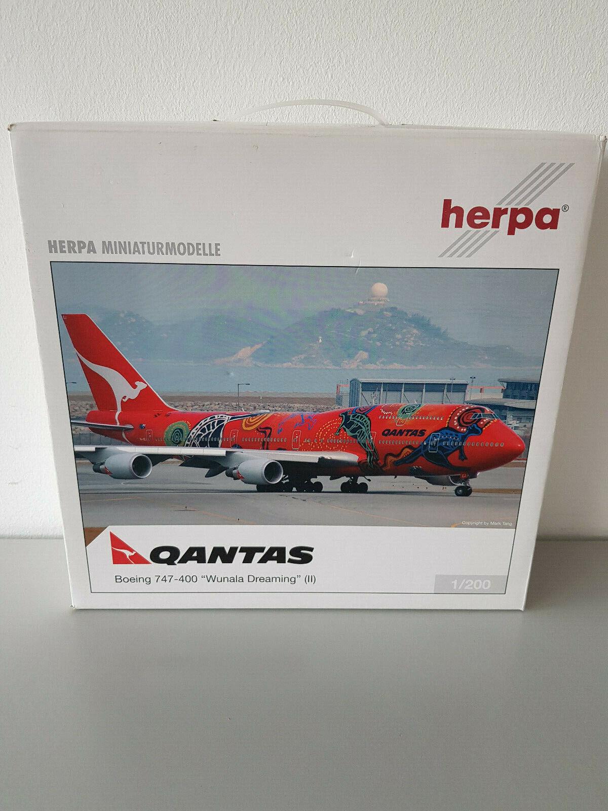 1 200 Herpa Wings 551243 Qantas Boeing 747-400 Wunala Dreaming II Reg VII-OEJ RAR