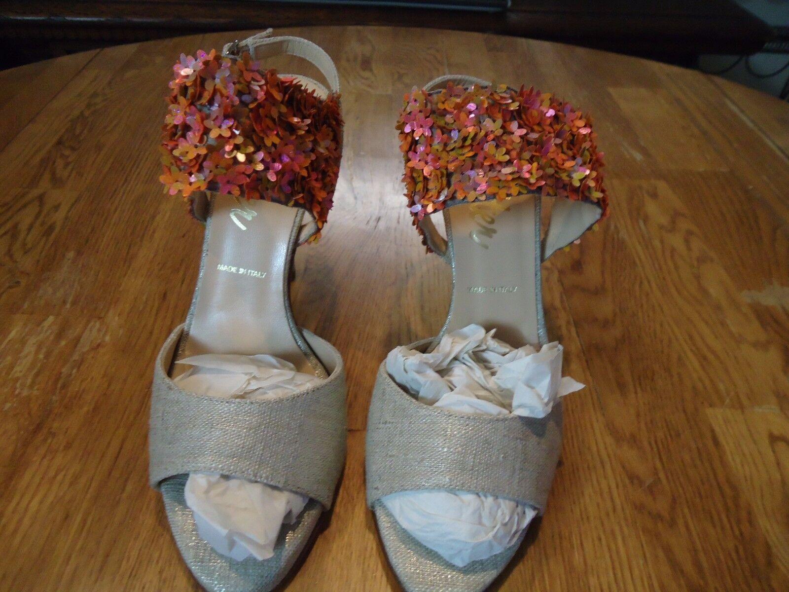 Butter Metallic gold Linen Floral Sandals  Size 7 NWT NWT NWT  ba6637