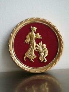 MEDAILLON-ROUGE-OR-BRONZE-ANCIEN-DECOR-St-LOUIS-XVI-DECO-CLASSIQUE-MOISSON