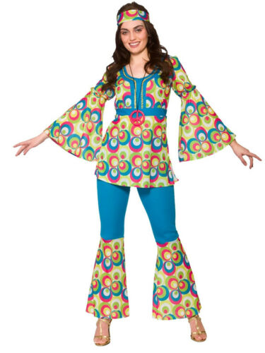 Adult Ladies 1960s 1970s Funky Retro Hippy Peace Hippie Fancy Dress Costume New