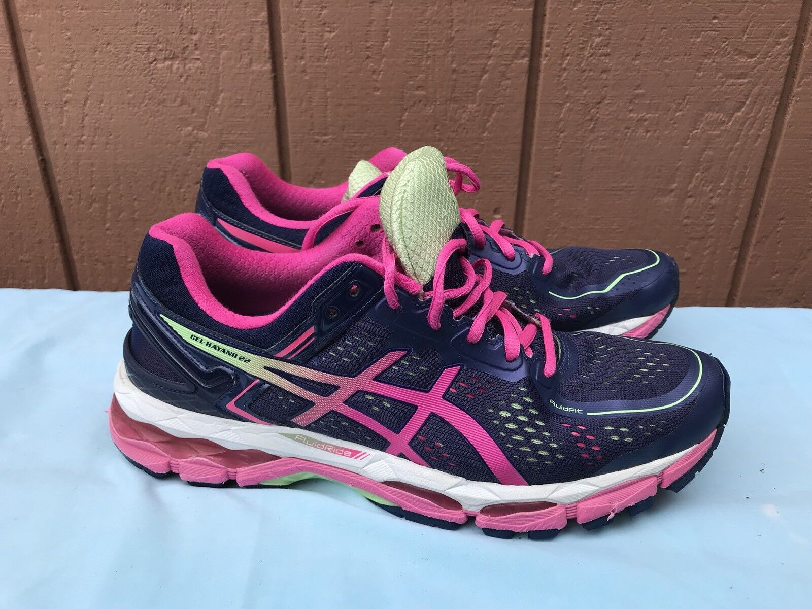 ASICS GEL-Kayano 22 Women's Navy/Pink Running Shoes US 10.5 D WIDE T598N A5