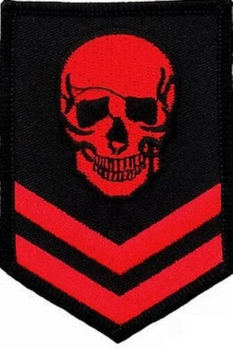 Red Skull Military Skeleton Embroidered Cloth Iron On Patch