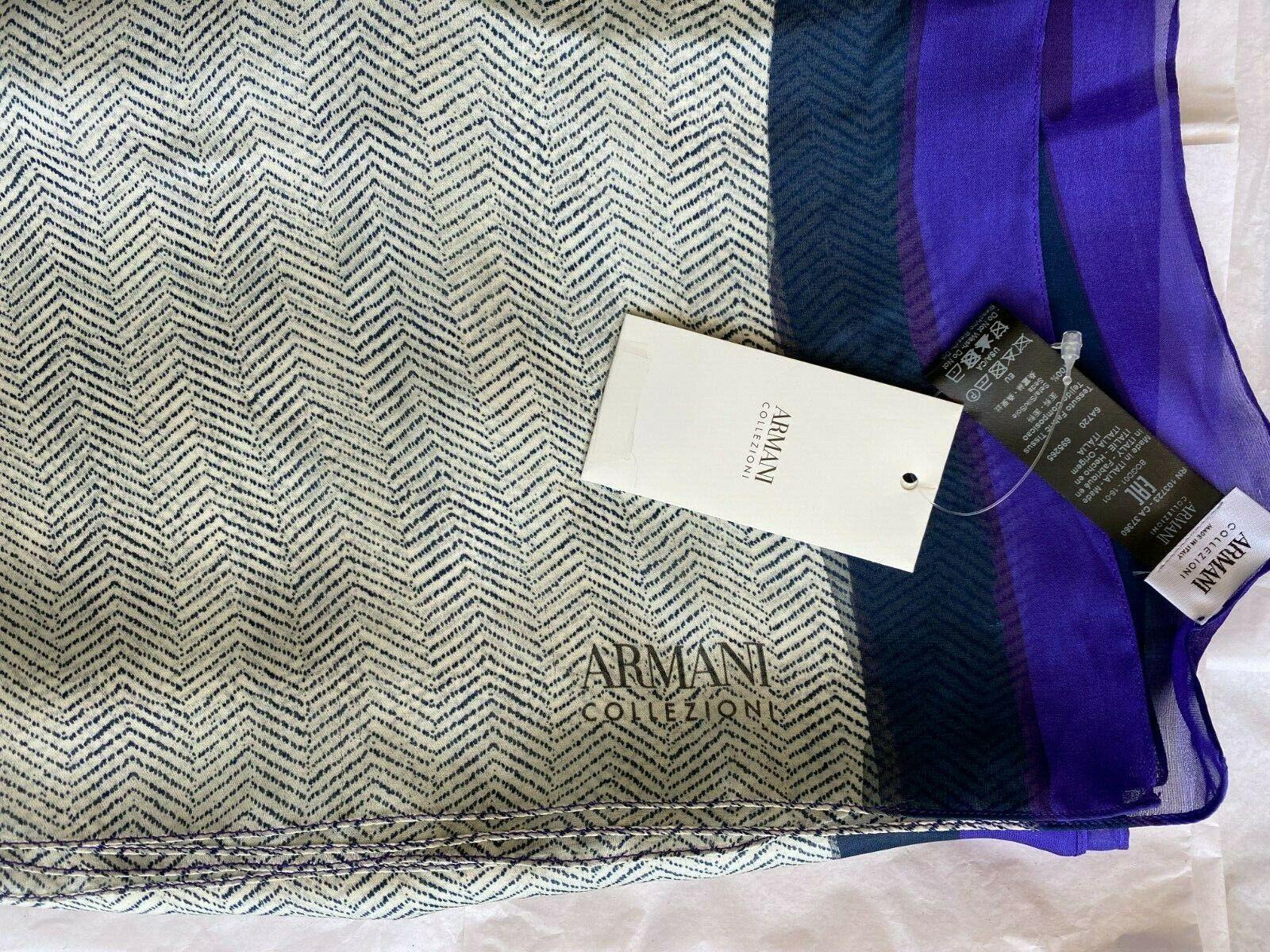Armani Collezioni Womens Rectangle Purple White Scarf Herringbone Silk Shawl NWT