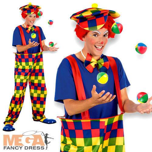 Bonbon Clown Mens Fancy Dress Circus Show Colourful Carnival Fun Adults Costume