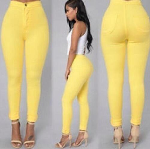 Womens Ladies Skinny Pencil Pants High Waist Stretch Slim Denim jegging Trousers